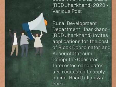 Rural Development Department, Jharkhand (RDD Jharkhand) 2020 - Various Post