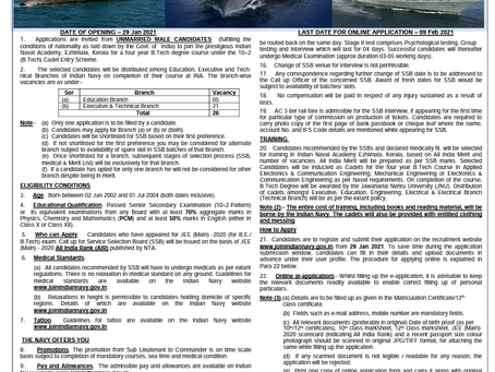 Indian Navy 10+2 (B.Tech) Cadet Entry 2021
