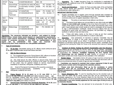 Indian Air Force AFCAT (02/2021) Exam:Notification Out