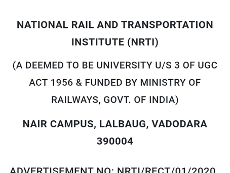 National Rail and Transportation Institute (NRTI) Recruitment 2020: Various Teaching & Non Teaching
