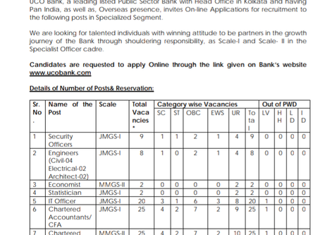 UCO Bank Specialist Officer (SO) Recruitment 2020: Various Vacancies
