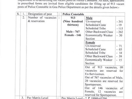 Goa Police Recruitment 2021: 1097 Posts