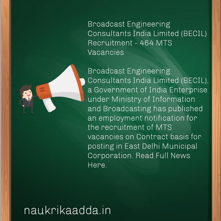 BECIL Recruitment 2020. Delhi Job