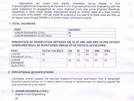 Delhi Engineering Job Vacancies 2020: DUSIB Recruitment