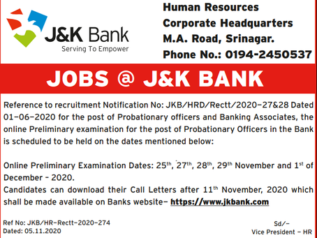 J&K Bank PO Pre Exam Date 2020 out: Check Now