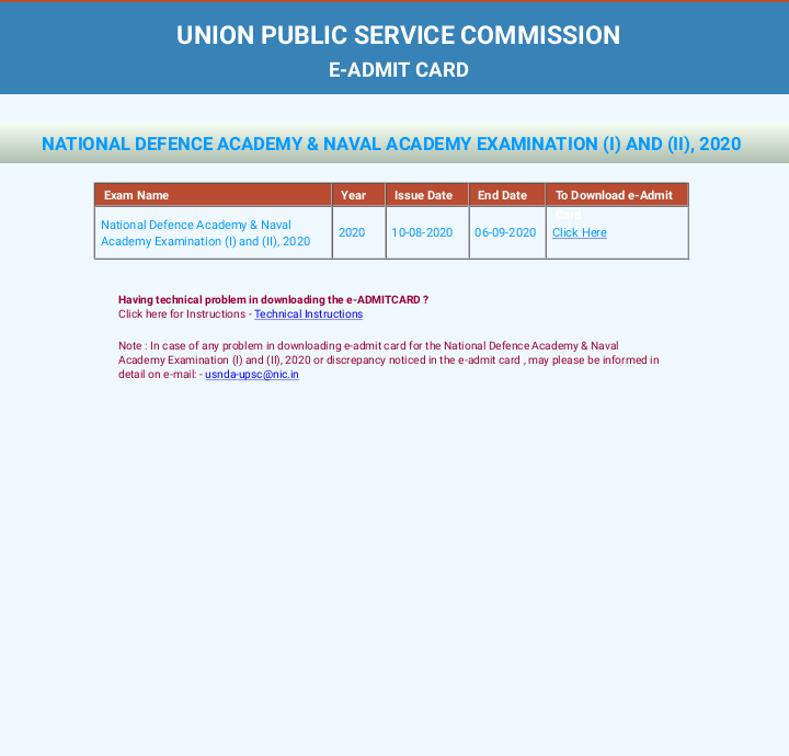 UPSC NDA & NA Exam (I) & (II) 2020 - Admit Card Released. Download Link