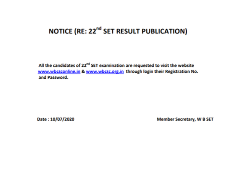 West Bengal College Service Commission (WBCSC) - State Eligibility Test (SET) Result Declared. Check