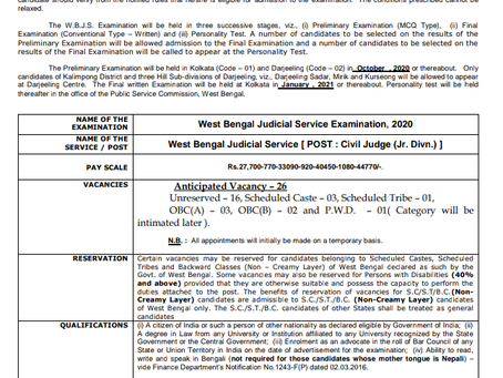 West Bengal Public Service Commission (WBPSC) Judicial Service Exam 2020 - Notification Out