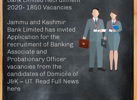 Jammu and Kashmir Bank Limited Recruitment 2020- 1850 Vacancies