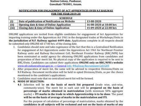 Northeast Frontier Railway Recruitment 2020 - 4499 Act Apprentice Vacancies
