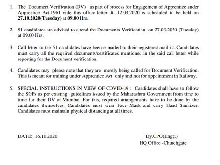 Western Railway Act Apprentice DV Date Announced