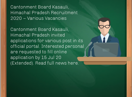 Cantonment Board Kasauli, Himachal Pradesh Recruitment 2020 – Various Vacancies