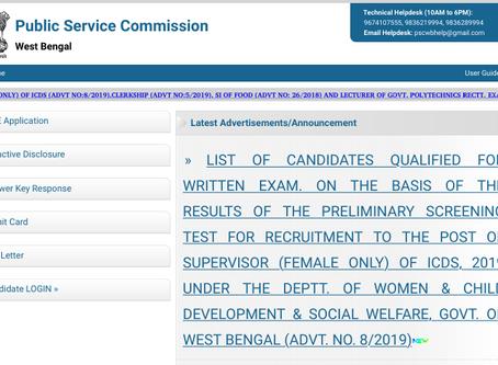 West Bengal Public Service Commission (WBPSC) Supervisor (Female) Pre Exam 2019 Announced