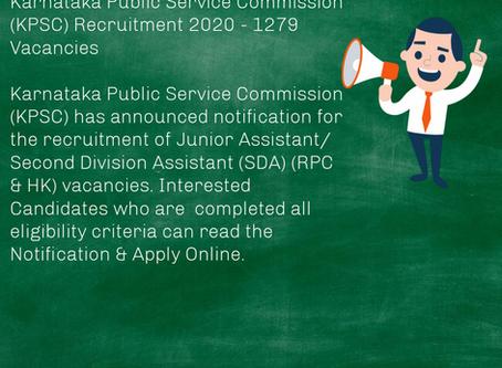 Karnataka Public Service Commission (KPSC) Recruitment 2020 - 1279 Vacancies