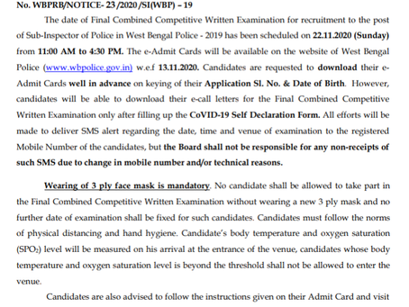West Bengal Police Sub Inspector Final Exam 2019 Date Released. Check Now
