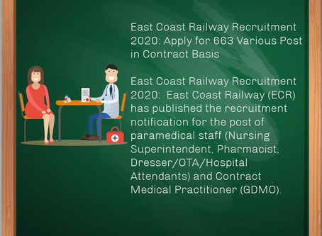 East Coast Railway Recruitment 2020: Apply for 663 Various Post in Contract Basis