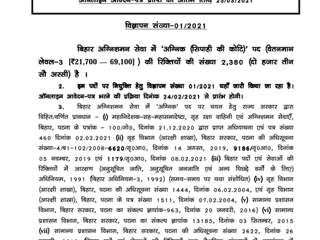 Bihar Police Recruitment 2021: 2380 Fireman Male and Female Vacancies
