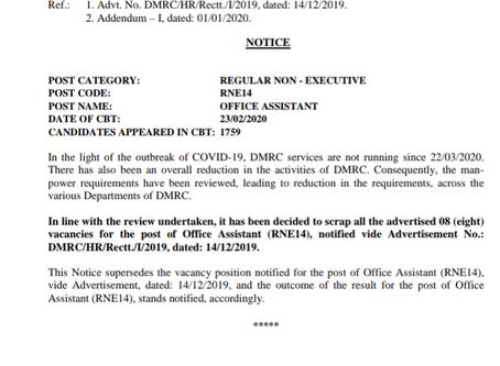 Delhi Metro Rail Corporation Limited (DMRC): Office Assistant Vacancies Cancelled