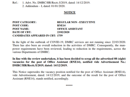 Delhi Metro Rail Corporation Limited (DMRC): Office Assistant Vacancies Cancelled