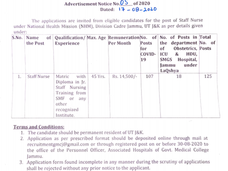 Government Medical College (GMC), Jammu Recruitment 2020 - Staff Nurse Vacancies