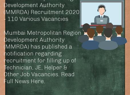 Mumbai Metropolitan Region Development Authority (MMRDA) Recruitment 2020 - 110 Various Vacancies
