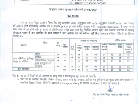 UP Rajya Vidyut Utpadan Nigam Recruitment 2021