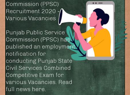 Punjab Public Service Commission (PPSC) Recruitment 2020 - Various Vacancies
