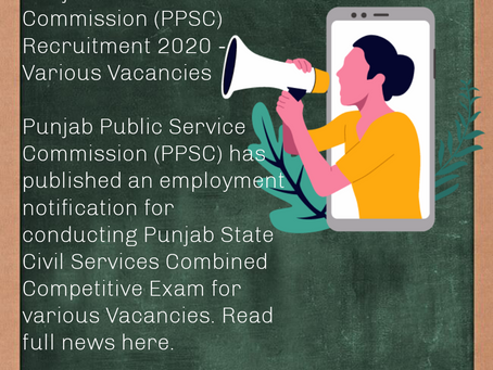 Punjab Public Service Commission (PPSC) Recruitment 2020 - Various Vacancies
