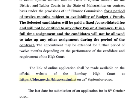 Bombay High Court Recruitment 2020: System Officer Vacancies