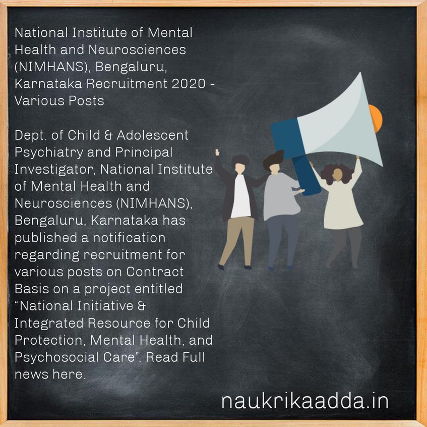 National Institute of Mental Health and Neurosciences (NIMHANS), Bengaluru, Karnataka Recruitment 2020 - Various Posts