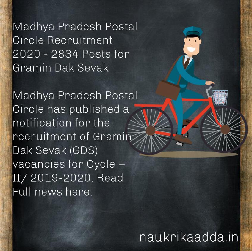 Madhya Pradesh Postal Circle Recruitment 2020 - 2834 Posts for Gramin Dak Sevak