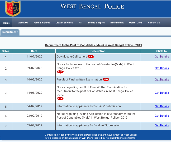 West Bengal Police Recruitment Board - Download Interview Admit Card for Constable (Male)