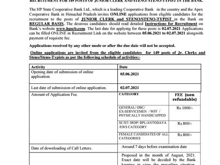 Himachal Pradesh State Co-operative Bank Job 2021: 149 Vacancies