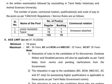 Tamil Nadu Job 2020: TANUVAS Recruitment
