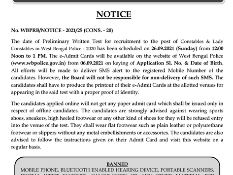 West Bengal Police Constables & Lady Constables Exam 2020: Prelims Date & Admit Card