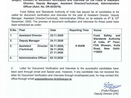 FSSAI Result 2019 - Asst Director, Dy Manager & Other Posts