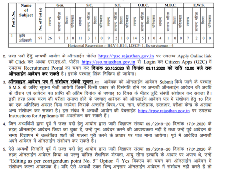 RPSC Recruitment 2020: Agriculture Officer & Agriculture Research Officer vacancies