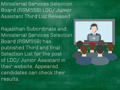 Rajasthan Subordinate and Ministerial Services Selection Board (RSMSSB) LDC/ Junior Assistant Third
