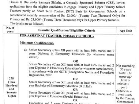 Dadra & Nagar Haveli Recruitment 2020: 485 Teacher Vacancies