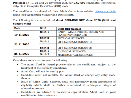 CSIR UGC NET Exam 2020: Admit Card Out