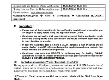 Western Railway Recruitment 2020 - Junior Technical Associate Vacancies. Apply Now