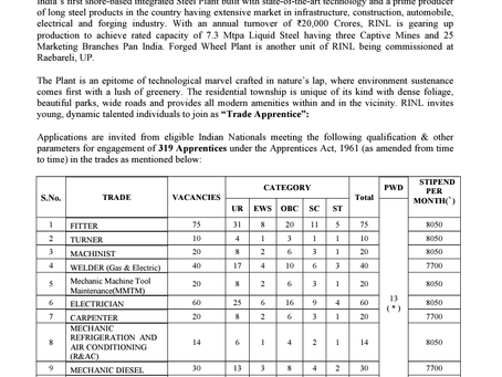 Vizag Steel Plant Apprenticeship Recruitment 2021