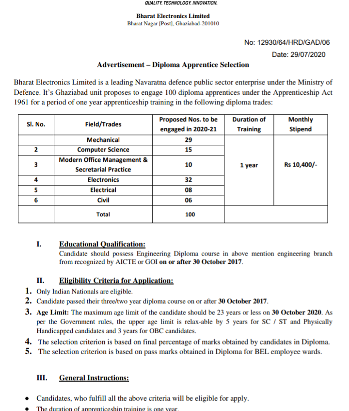 Bharat Electronics Limited (BEL) Recruitment 2020 - 100 Diploma Apprentice Vacancies