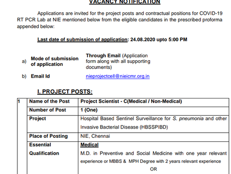 ICMR National Institute of Epidemiology Recruitment 2020 -Technical Officer, MTS, Nurse & Other Post