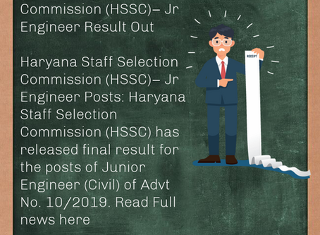 Haryana Staff Selection Commission (HSSC)– Jr Engineer (Civ) Result Out