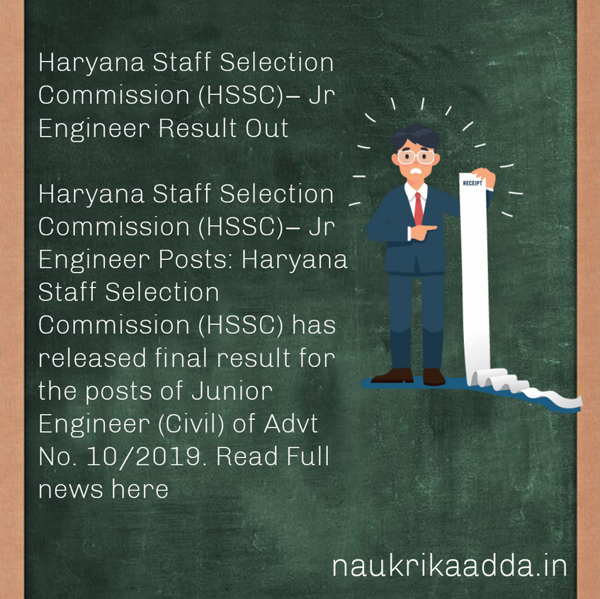 Haryana Staff Selection Commission(HSSC)– Jr Engineer Result Out