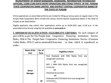 Punjab State Cooperative Bank (PSCB) Recruitment 2021: 856 Vacancies