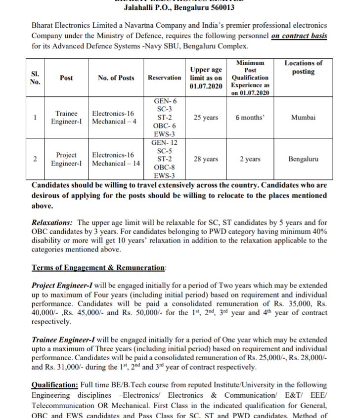 Bharat Electronics Limited (BEL) Recruitment 2020 - Trainee & Project Engineer Vacancies