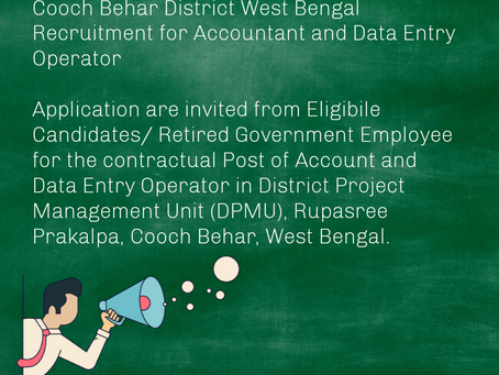 Cooch Behar District West Bengal Recruitment for Accountant and Data Entry Operator