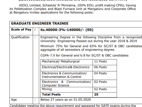 Kudremukh Iron Ore Company Limited (KIOCL), Karnataka Recruitment 2020 - Graduate Engineer Trainee